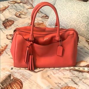 Coral leather coach hand bag